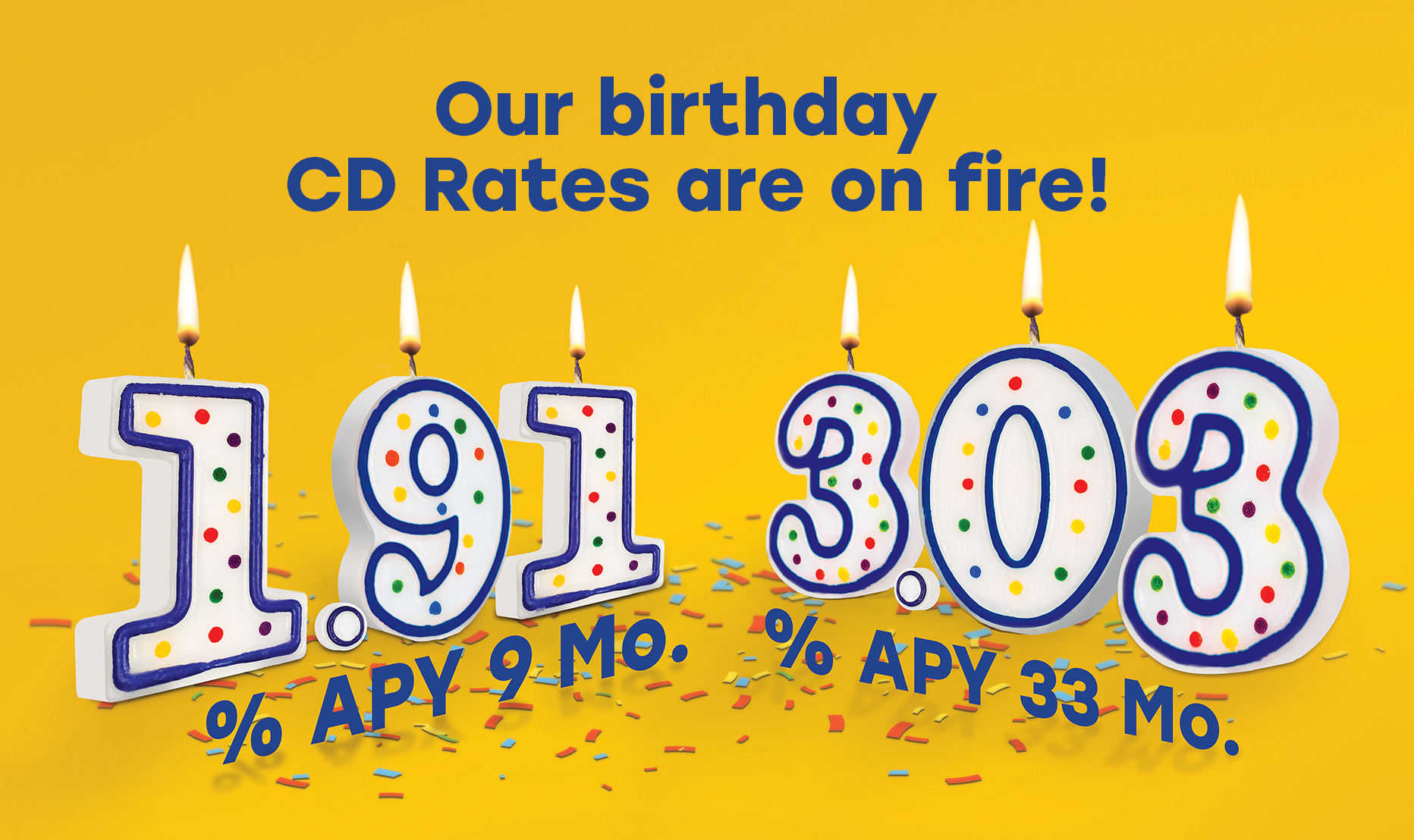 Our birthday CD rates are on fire! 1.91% APY 9 Mo., 3.03% APY 33 Mo.